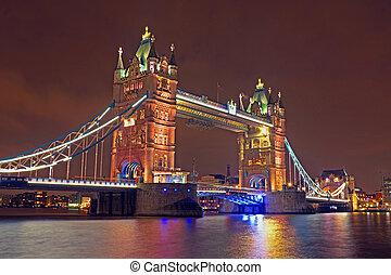Tower bridge in London UK by night