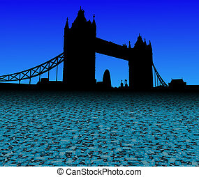Tower Bridge London with abstract pound currency foreground illustration