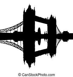Tower Bridge reflected silhouette