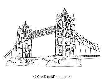 Tower Bridge. hand drawing set of vector sketches