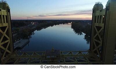 Tower Bridge Vertical Lift Crossing Sacramento River Sunset...