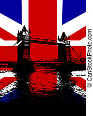 Tower Bridge With UK Flag - Tower Bridge in London with the...