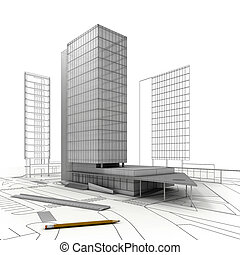 Stylized modern building with drawings, ruler and pencil