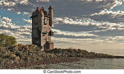 Fantasy Medieval style tower castle by the lake, 3d digitally rendered illustration