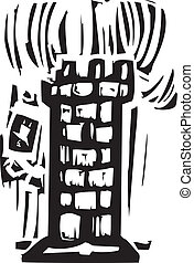 Tower - Woodcut expressionist style of a castle tower with a...
