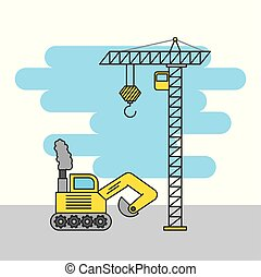 tower crane and bulldozer truck construction machinery