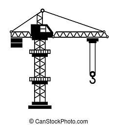 Tower Crane Icon in White Background. Vector