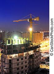 tower crane loader at night - night shot of construction...