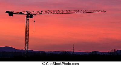 Tower crane silhouette