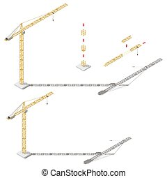 Tower crane with adjustable boom length and tower height isometric icon set