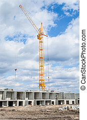 Tower cranes and construction of highrise building
