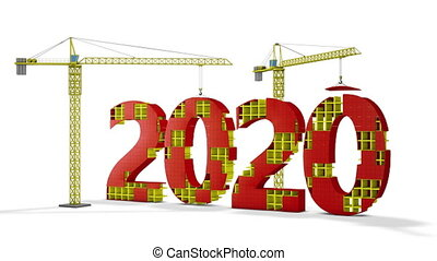 tower cranes building 2020 - Two tower cranes building a...
