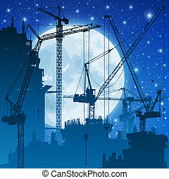 Tower Cranes - Lots of Tower Cranes on Construction Site...