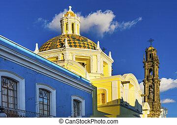 Tower Dome San Cristobal Church Templo de San Cristobal Historic Puebla Mexico.  Built in 1600 to 1700s