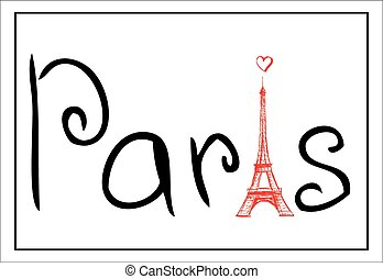 Tower Eiffel with Paris lettering. Vintage Vector illustration