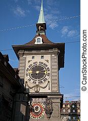 tower;, europe, bern;, switzerland;, horloge