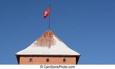 tower flag trakai castle - ancient architecture Trakai...
