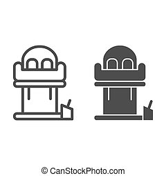 Tower freefall line and solid icon, Amusement park concept, Freefall attraction sign on white background, Free-fall ride icon in outline style for mobile concept and web design. Vector graphics.