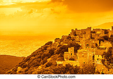 Tower houses in Vathia at sunset Greece Mani Peninsula - ...
