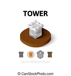 Tower icon in different style