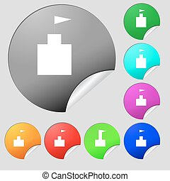tower icon. Set Flat modern. Set of eight multi colored round buttons, stickers. Vector
