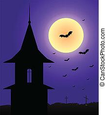 Tower in the moonlight Halloween