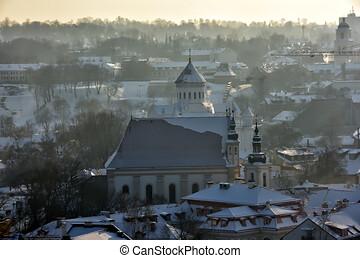 tower., invierno, panorama, gediminas, vilnius., castillo, ...