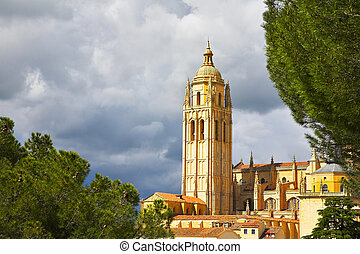 Tower of a cathedral in Segovia