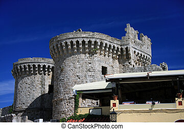 Tower of ancient city, Greece, Rhodes