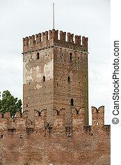 Tower of Castelvecchio fortress in Verona,  Italy