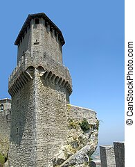 Tower of castle in San-Marino