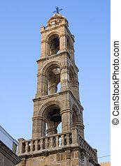 Tower of Church, Lindos, Rhodes island, Greece