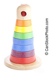 Tower of colorful blocks isolated on white background