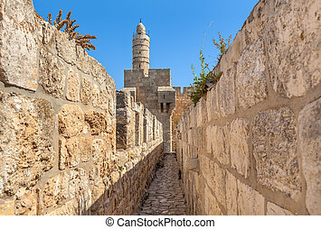 Tower of David and ancient walls in Jerusalem.