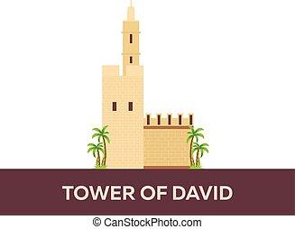 Tower of David. Israel, Jerusalem. Vector flat illustration....