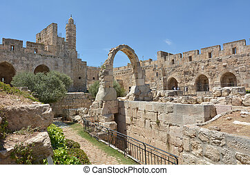 jERUSALEM - MAY 05 2015:Aerial view of the Tower of David and archeological garden in Jerusalem, Israel. It's a famous landmark of Jerusalem with historical and archaeological significant.