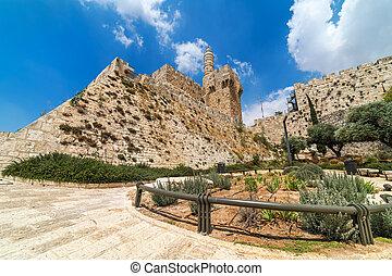 Tower of David under beautiful sky in Jerusalem, Israel.