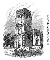 Tower of Earls Barton, Northamptonshire, vintage engraving...