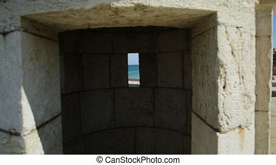 Tower of fort Lagos - Aerial panoramic pov inside the tower...