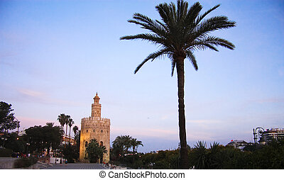 Tower of gold. Sunset in sevilla. - Tower of gold in Seville...