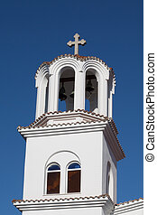Tower of Greek orthodox Church in Paralia Katerini beach, Greece