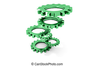 tower of green colored metallic cogwheels hovering...