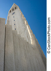 Tower of Hallgrimskirkja church - Iceland.