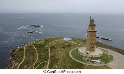 Tower of Hercules lighthouse located in the city of La Coruna. Galicia, Spain. High quality 4k footage