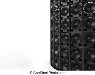 Tower of hifi bass speakers - cut shot