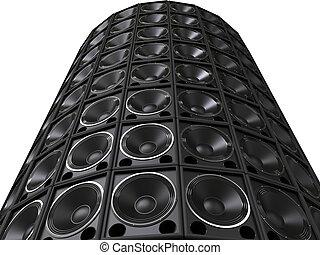 Tower of hifi bass speakers