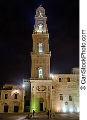 Tower of Lecce Cathedral at night, iconic landmark in Salento