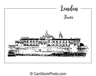 Tower of London, architectural symbol. Beautiful hand drawn vector sketch illustration