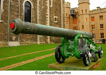 Close up image of a canon in front of the Tower of London