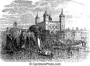 Tower of London or Her Majesty's Royal Palace and Fortress in London England vintage engraving